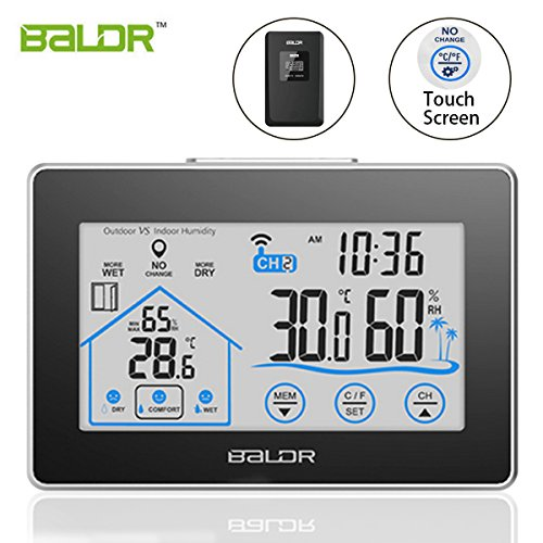 Baldr Touch Screen Wireless Weather Station Temperarure Meter Time Clock Indoor/Outdoor (Weather Station For Boat)