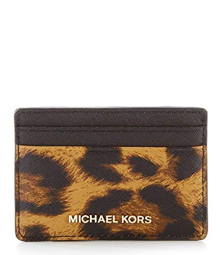 MICHAEL Michael Kors Leopard Skin Print Leather Card Holder (Butterscotch, One Size)