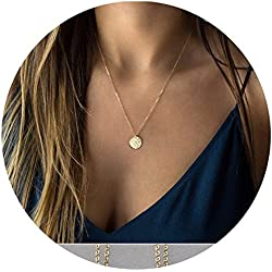 Befettly 14k Gold Fill Dainty Moon Phase Simple Moon Necklace Crescent Moon Full Moon Pendant Necklace-Full Moon