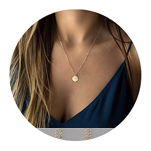 Befettly 14k Gold Fill Dainty Moon Phase Simple Moon Necklace Crescent Moon Full Moon Pendant Necklace-Full Moon (Pendant Sports Tag Necklace)