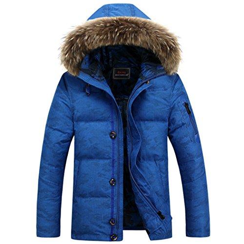 jacket short outdoor blue collar Winter leisure hair XXL man HHY cap down qfaHwCxfng