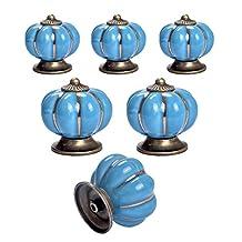 Ceramic Knobs 6-Pack Yazer Multi-Color Pumpkin Durable Unique Knobs Vintage Handles/Pulls for Kitchen Cabinet Cupboard Door Baby Furniture (Blue)