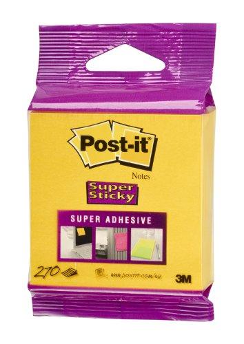 Post-it 2014-S Haftnotiz Super Sticky Würfel, 70 g, 76 x 76 mm, narzissengelb, 270 Blatt