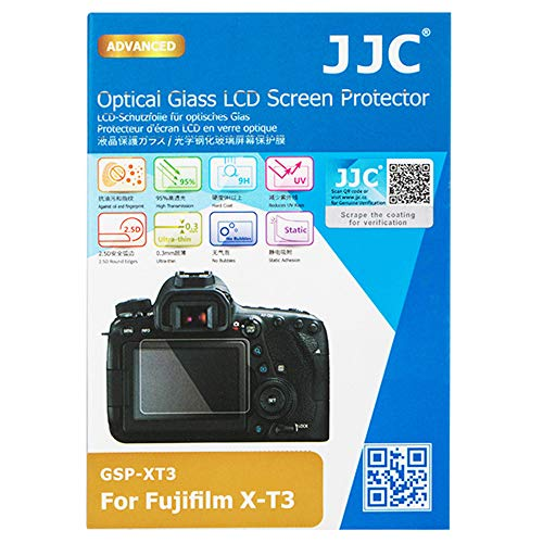 JJC Dedicated Tempered Glass Screen Protector Cover Shield for Fuji Fujifilm X-T3 XT3 Camera, 0.3mm Ultra-Thin / 9H Hardness / 2.5D Round Edges