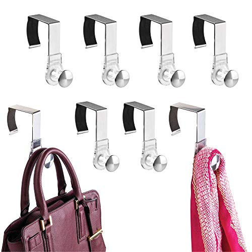 (mDesign Modern Metal and Plastic Office Over The Cubicle Storage Organizer Hooks - Wall Panel Hangers for Hanging Accessories, Coats, Hats, Purses, Bags, Keychain - 8 Pack - Clear/Brushed)
