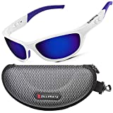 Polarised Sunglasses Man Woman Skiing - Ski Cycling Golf Fishing Running Driving for Men & Women, UV400 Protection, Wrap Around Lightweight Durable TR90 Frame, Accessories With Hard Case (Blue/White)