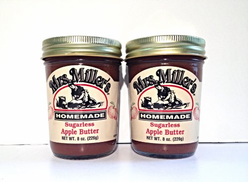 Mrs. Miller's Amish Homemade Sugarless Apple Butter 8 oz/226g - Pack of 2 (
