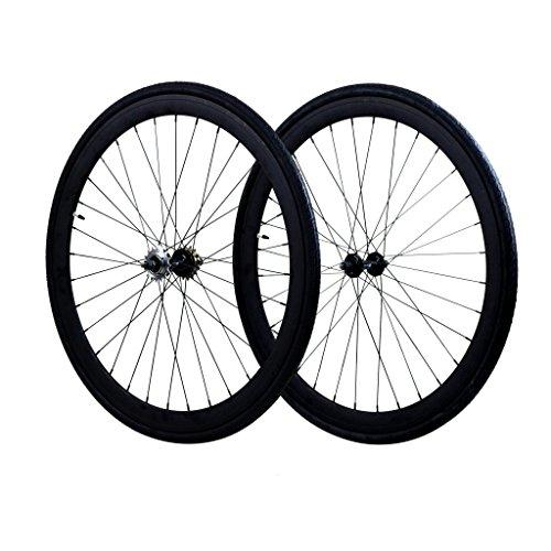 Fixie Wheels Set Fixed Gear Flip-Flop Rear Wheels 45mm with Kenda Tires 25C, Matte Black (700c Fixed Gear)