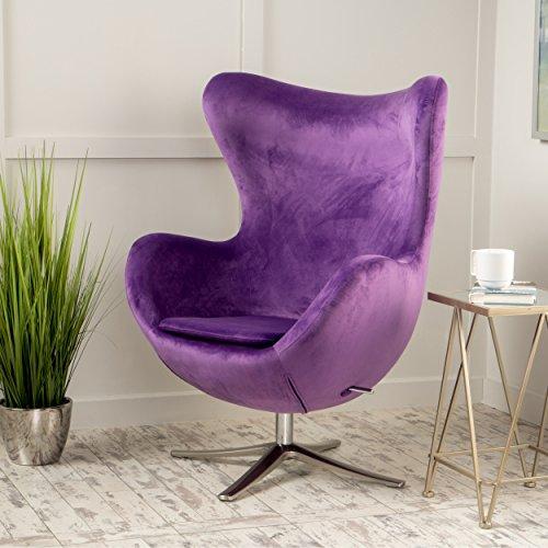 Glendon Arne Jacobsen Style New Velvet Swivel Contour Egg Chair By GDF  Studio