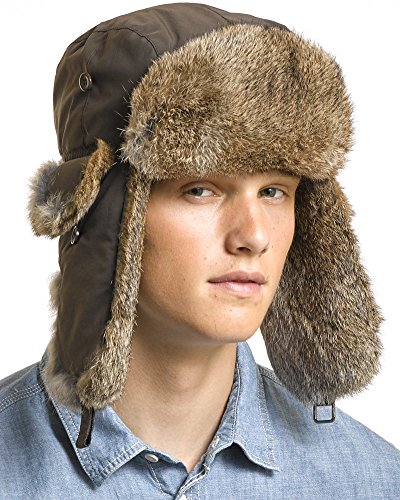 (Brown B-52 Aviator Hat with Natural Brown Rabbit Fur - 2XL/3XL)