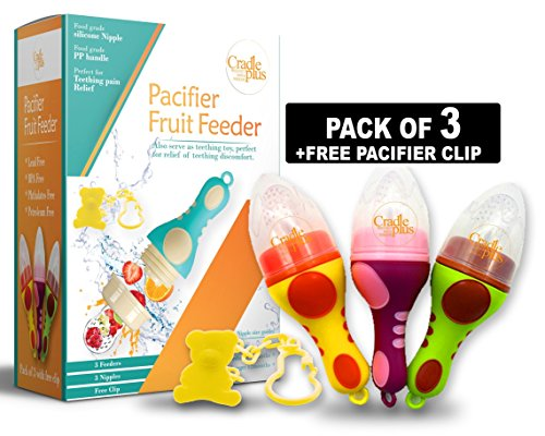 Baby Fruit Feeder Pacifier (3 Pack)   baby Food feeder   fresh fruit Teething Toy Nibbler   Silicone Nipple, Teether, Soother, Pouches for Babies by Cradle Plus from Cradle Plus