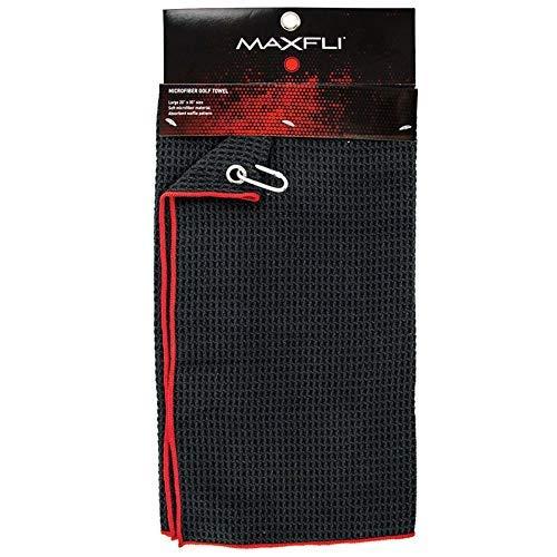 Maxfli ソフトマイクロファイバー吸水性ワッフルゴルフタオル 取り外し可能なメタルカラビナ ブラック/レッド   B07H3FQ7FD