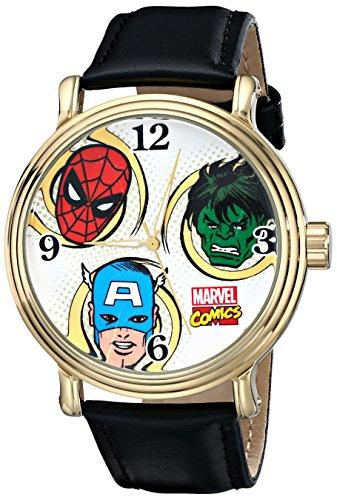 Marvel Men's W001762 Spider-Man, Hulk, Captain America Analog-Quartz Black Watch