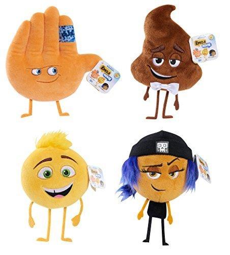 Set of 4 The Emoji Movie Stuffed Beans - Gene, Poop, Jailbreak and -