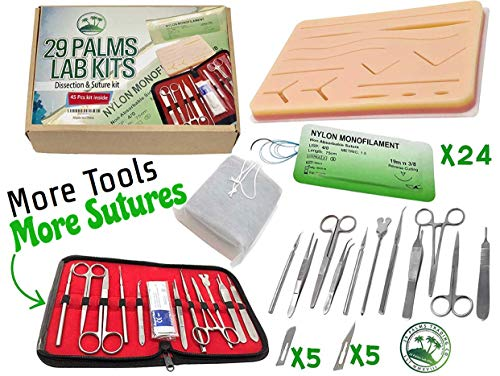 Suture Practice Kit with Suture Guide, High # of Sutures, Surgical Dissection Tools, Suture Pad, Tool Bag, and Carrying Case (45 Pieces) White