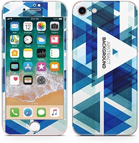 igsticker iPhone SE 2020 iPhone8 iPhone7 専用 スキンシール 全面スキンシール フル 背面 側面 正面 液晶 ステッカー 保護シール 008592 クール 三角 青 ブルー 模様