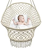 Sorbus Baby Crib Cradle, Hanging Bassinet and Portable Swing for Baby Nursery, Macramé Rope Fringe Measures 35'' L X 23.25'' W X 14'' H, Weight Capacity 22 pounds (Off White)