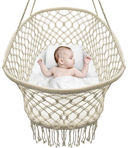 (Sorbus Baby Crib Cradle, Hanging Bassinet and Portable Swing for Baby Nursery, Macramé Rope Fringe Measures 35