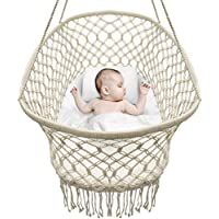 Sorbus Baby Crib Cradle, Hanging Bassinet and Portable Swing for Baby Nursery, Macramé Rope Fringe Measures 35 L X 23.25 W X 14 H, Weight Capacity 22 pounds (Off White)