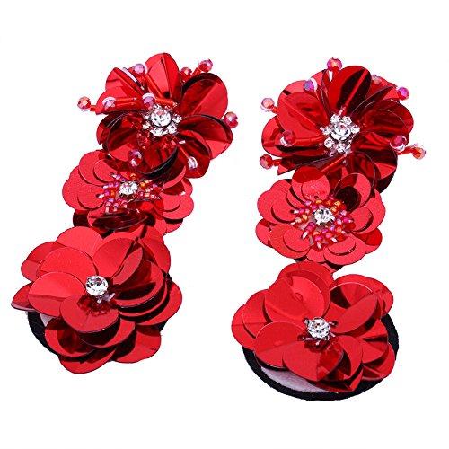 Handmade Long Earrings Flowers Sequins Diamond Beaded Stud Ear Hoop Jewelry Accessories (Sequin Beaded Earrings)