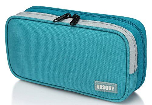Pencil Case,Vaschy Large Capacity Pen Holder Pouch with Double Zippers Multi Compartments Easy Organized Mesh Pockets Turq