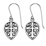Sterling Silver Celtic Cross & Sheild Wire Earrings