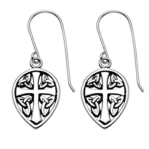 Sterling Silver Celtic Cross & Sheild Wire Earrings by Wild Things (Image #1)