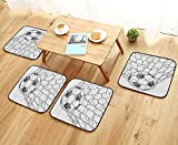 Printsonne Fillet Chair Cushion Soccer Ball in NGoaly Positi Sports Competiti Spectators Hand Drawn Style Suitable for The Chair W13.5 x L13.5/4PCS Set