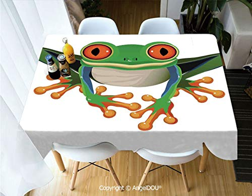 AngelDOU Modern Tablecloth Rectangle Table Cover Cute Illustration of Big Red Eyed Tree Frog on Simple Background Kids Cartoon Print for Camping Picnic Dinner Party ()