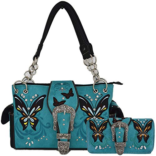 (Western Style Butterfly Tooled Buckle Concealed Carry Purse Country Handbag Women Shoulder Bag Wallet Set (Turquoise))