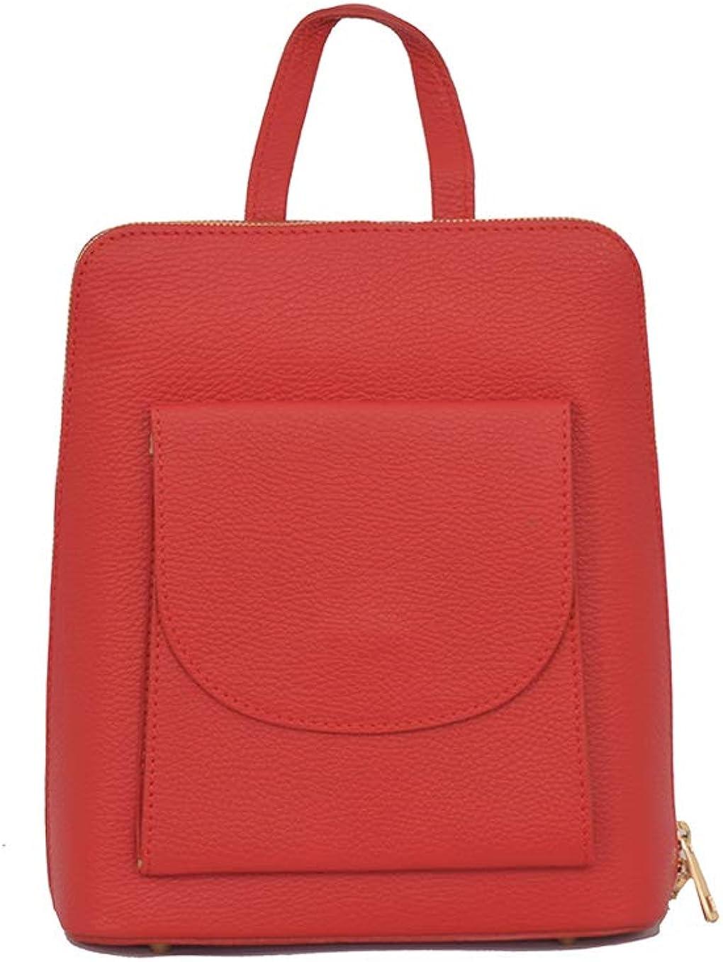 A to Z Leather Mochila 3 en 1 Backpack/Mochila bandolera o mochila cruzada. Auténtico cuero italiano. Rojo