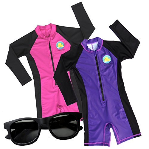 Swim with Me- SPF 50+ Total Sun Protection Swimsuit for Infant, Baby, Toddler, and Kids! (Purple/Magenta (2 Pack) 2 Years)