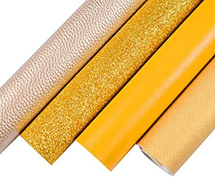 Leather for Earrings 8X11 Textured Faux Leather Material for Hair Bows 0914 GOLD FLORAL EMBOSSED Faux Leather Sheets