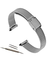 17-22mm Stainless Steel Adjustable Mesh Watch Band Bracelet Strap Replacement Band, Silver Tone