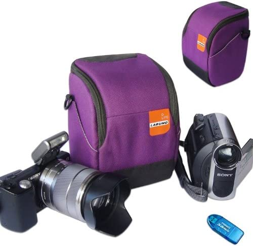 First2savvv anti-shock purple Nylon camcorder case bag for SONY HDR-CX370E with card reader