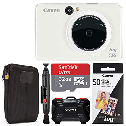 Canon Ivy CLIQ + Instant Camera Printer (Pearl White) + Canon 2 x 3 Zink Photo Paper Pack (50 Sheets) + SanDisk Ultra 32GB microSDHC Memory Card + Portable Case - Camera Digital Pearl