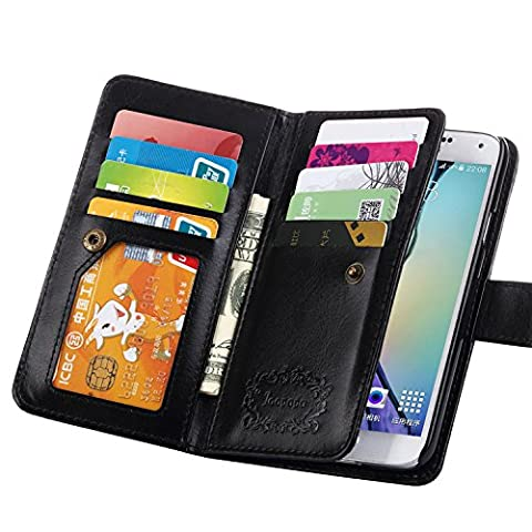 S5 Case, Galaxy S5 Case, Joopapa Galaxy S5 Luxury Fashion Pu Leather Magnet Wallet Credit Card Holder Flip Case Cover with Built-in 9 Card Slots for Samsung Galaxy S5 / Galaxy Sv / Galaxy S5 I9600 (Flip Cover Cases For Galaxy S5)