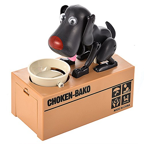 Lanlan 1pcs Creative Stealing Coin Cat Bank Money Box Funny Toys To Pass The Time Colorful Box Package Valentine's Christmas Birthday New Year For Friends Kids Toy Gift Sets Black Dog Dog Valentine Box