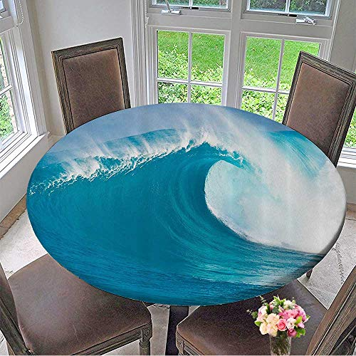Mikihome Round Tablecloth CleanSea Wave Moving Against Strg Wind Bathroom 63