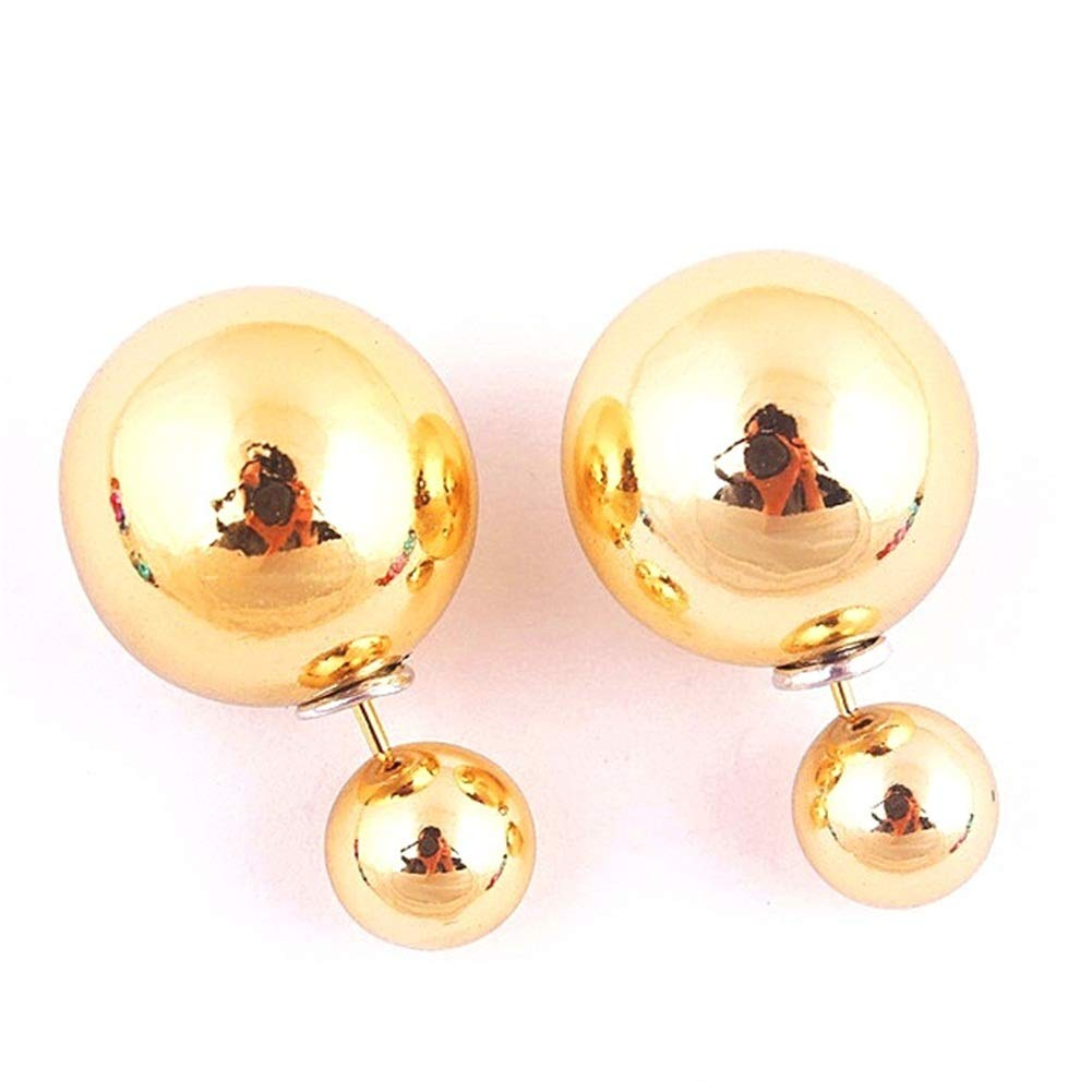 925 Silver Plated Multicolor Pearl double-sided Balls, UV Shiny candy stud earrings (Gold)