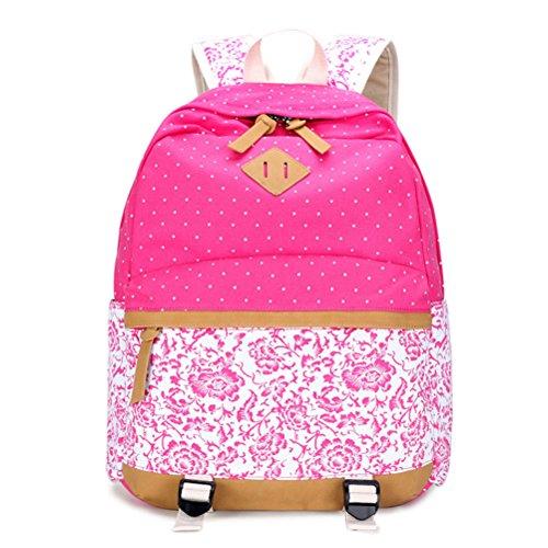 Impresión de lona Dot Mujer Mochila mochilas escolares para la joven estudiante portátil de 15,6 pulgadas Bolso Mochila Azul femenino Pink