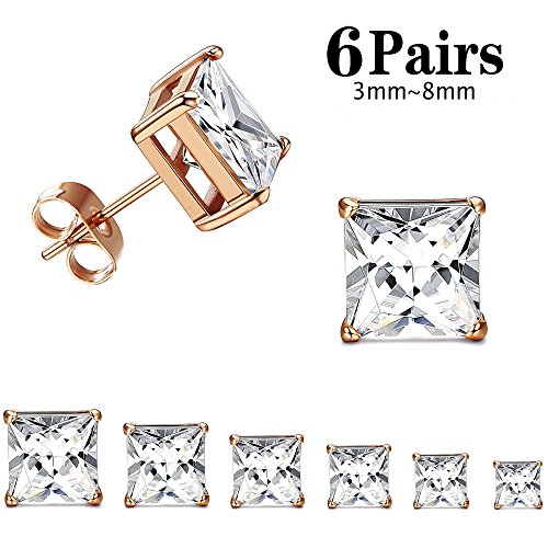 Thunaraz 316L Surgical Steel Stud Earrings Princess Cut Square Cubic Zirconia Earrings Set 6 Pairs 3mm-8mm (Rose Gold)