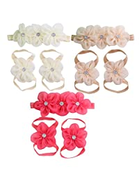 Happy Cherry Baby Hairbands with Wrist Foot Barefoot Sandals Rinestone Flowers