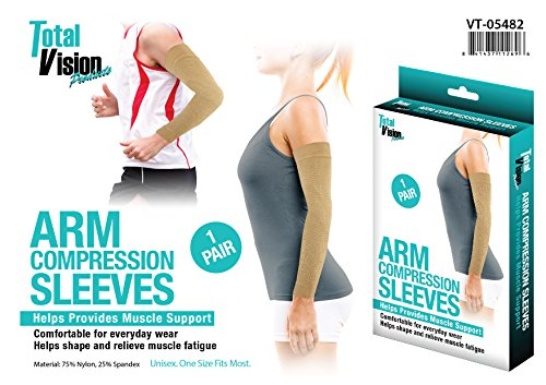 Total Vision Products - Arm Compression Sleeves - Helps Provide Muscle Support and Helps to Relieve Muscle Fatigue - Nylon and Spandex Sleeve - Unisex - One Size Fits Most - One Pair by Total Vision