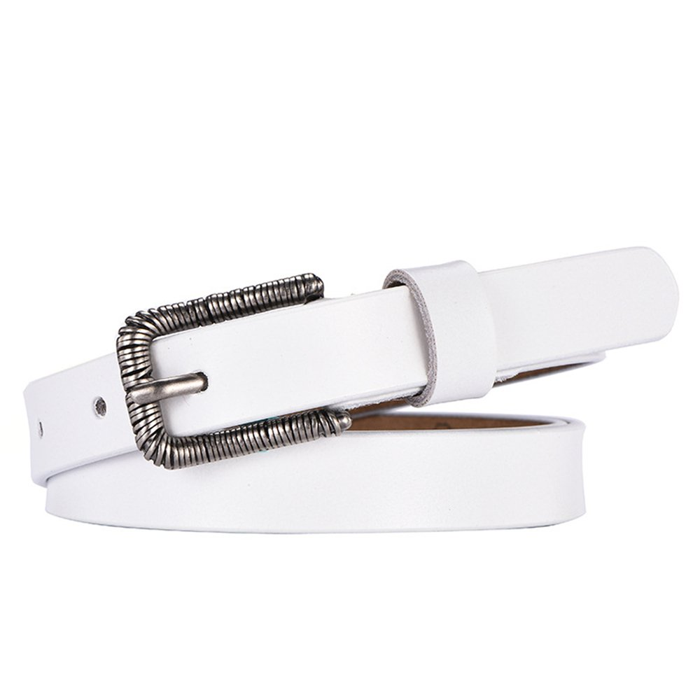 White Canvas Belt Classic Genuine Leather Belts for Women with Metal Buckle (color   White)