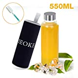 IEOKE Glass Water Bottles, Glass Bottle 550ml BPA-Free Leak Proof Sports Portable Glass Bottle with Carrying Sleeve and Sponge Brush for office travel yoga … (Glass bottle)