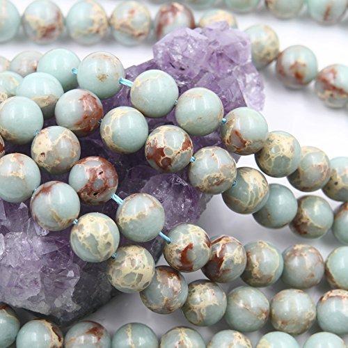 39 pcs 10mm Aqua Terra African Opal Impression Jasper (N) Loose Spacer Beads Round 15.5 inch Strand