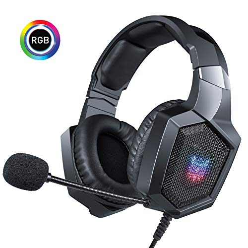 ONIKUMA PC Gaming Headset with Mic for PS4 Xbox one Controller Laptop,Stereo Sound Over Ear Headphones with Noise Cancelling Mic and Foam Mic Windscreen,Soft Memory Earmuffs & Volume Control-Black (Mic Windscreens Accessories)