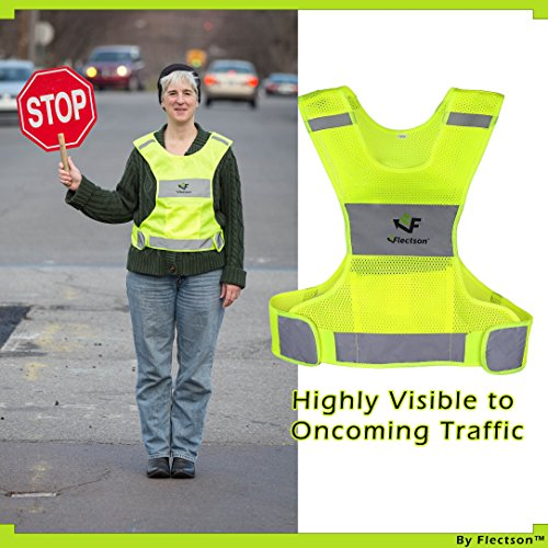 Reflective Vest for Running or Cycling (Women and Men, with Pocket, Gear for Jogging, Biking, Motorcycle, Walking) (Extra Large) by Flectson (Image #2)