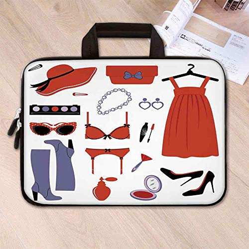 Heels and Dresses Portable Neoprene Laptop Bag,Glamor Items for Women Attire Sunglasses Lingerie Cosmetics Decorative for Travel Office School,15.4''L x 11''W x 0.8''H